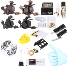 SOLONG TATTOO Tattoo Machines Set Complete Tattoo Kit Power Supply 2 Machine Guns Shader Liner US UK Plug Tattoo Kit(China)