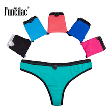 Buy FUNCILAC Underwear Woman Thong Sexy Lace G String Cotton Panties Briefs Women Girls Solid Underpants Lingerie 5Pcs/Lot
