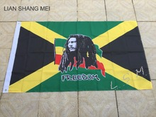 Jamaica Bob Marley Freedom Flag hot sell goods 3X5FT 150X90CM Banner brass metal holes