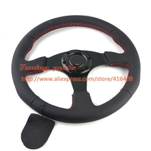 350mm Racing Car Steering Wheel 14 inch Leather Flat Car Steering Wheel With Red Stitching Game Steering Wheel(China)