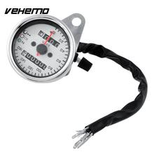 VEHEMO Universal Motorcycle Dual Odometer Speedometer Gauge LED Backlight Background Signal Light 12V Repair White(China)