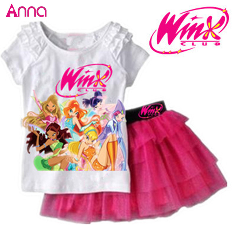 Girls Clothing Set T shirt + Skirt 2Pcs Suits Winx Club Cartoon Kids Set Childrens clothes Free shipping<br><br>Aliexpress