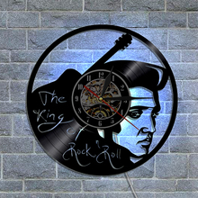 1Piece Elvis Presley Vinyl LED Light Wall Clock The King Of Rock N Roll Creative Design Modern Wall Art 3D Hanging Timepiece(China)