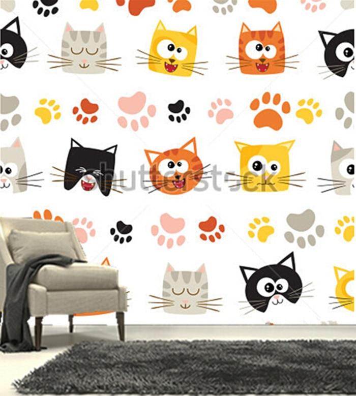 The custom 3D murals,cute cartoon cats  papel de parede,living room sofa TV wall bedroom wall paper<br>