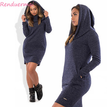 Buy Knitted Autumn Dress 2017 Plus Size Women Dress Long Sleeve Pocket Hooded Dress 5XL 6XL Big Size Warm Winter Dress Vestidos for $17.99 in AliExpress store