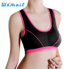 Womail Sexy  Women Lady Cotton Blended Sports Yoga Athletic Solid Wrap Chest 1 PC  Vest Tops Bra   Slim  Pure  sport Bra
