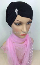 H831c cotton jersey muslim tube hat with rhinestones,fast delivery