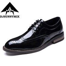 DJSUNNYMIX Brand Fashion italy  NEW Leather Men Oxford Dress Shoes Lace Up Casual Business Men Shoes