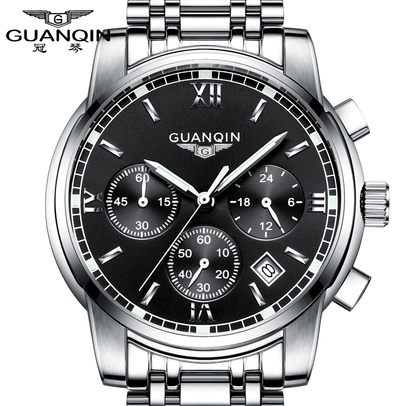 GUANQIN watch Men Business Brand Stainless Steel Quartz Watch Chronograph Luminous Sport Clock Mens Fashion Casual Wristwatch<br>
