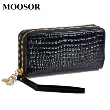2017 Hot Sale Wallet Women Japanned Leather Women's Purse Credit Card Zipper Crocodile Women Wallet Solid Brief Pocket DC53