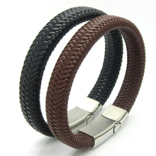 Unique Designer 316L Stainless Steel Bracelets & Bangles Mens Gift Black Leather Knitted Magnetic Clasp Bracelet Jewelry(China)