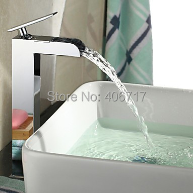 Chrome Contemporary Brass Tall Square Waterfall Countertop Bathroom Sink Faucet Mixer Tap<br><br>Aliexpress