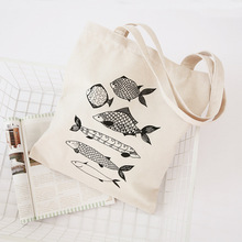 YILE Zipped White Cotton Canvas Shopping Tote Carrying Shoulder Bag Fishes Q01