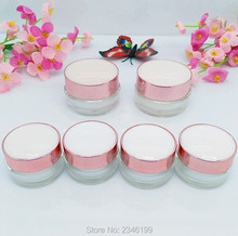 5G 5ML Small Plastic Acrylic Cream Jar with Pink Cap, Cosmetics Lotion Packing Container, Acrylic Cream Jar, 50pcs/lot