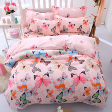 bedclothes / jacquard Korean style 4pcs Bedding set Cotton bed sheet +duvet cover + pillowcase pink dekbedovertre bed linen set(China)