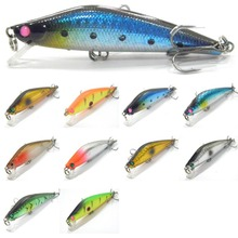 wLure Minnow Crankbait Shallow Diver #6 Black Nickle Treble Hooks ABS Plastic Variant Colors Jerkbait 7g 7.5cm Fishing Lure M653