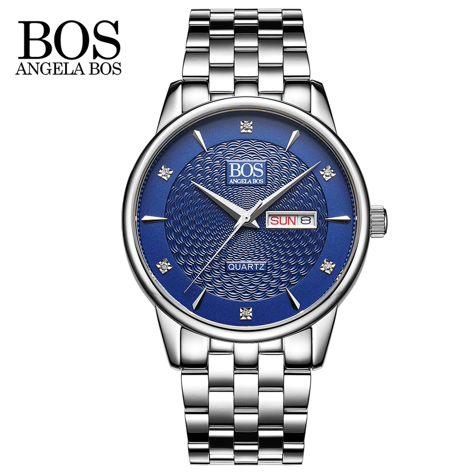 ANGELA BOS Top Brand Luxury Business Quartz-watch Men Calendar Week Rhinestones Wavy Texture Watch Stainless Steel Mens Watches<br>