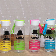 ZanNuo 2017 Summer New fashion water bottle Cartoon Tiger ducks beard pattern my green plastic water bottle Adult office cute(China)