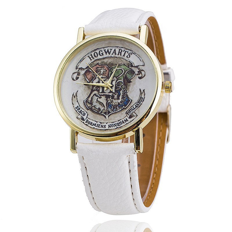 Casual lovers' watches leather deployment bucket Wrist Watches 3Bar Waterproof Geneva Quartz Harry Potter Medal Watches(China)