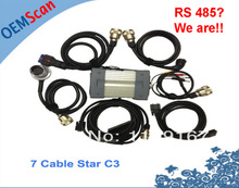 Real RS485 for MB Star c3!! 2017 DHL free seven cables MB Star C3 Multiplexer MB C3 Star Diagnostic Tool All New Relay Star c3