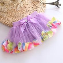 Children's Skirt Tulle Tutu Net Veil 2017 Summer Bright Flower Beads Cake Skirt Pink Green Purple Rose Chiffon Pettiskrit
