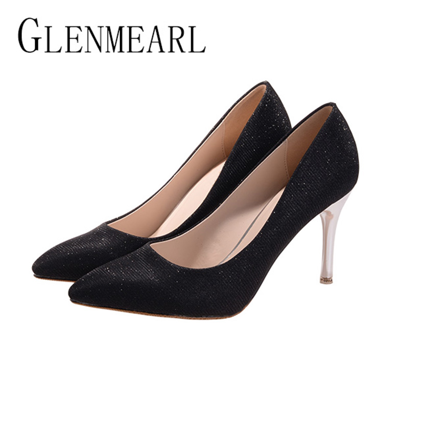 2018 New Thin Heel Pumps Womens Shoes Brand Bling Sexy Spring Women High Heel Shoes For Female Single Pumps Wedding Shoes25<br>