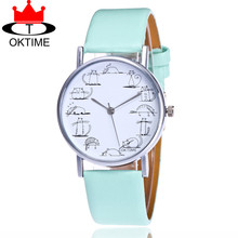 OKTIME Brand Fashion Lovely Cat Watch Casual Women Leather Strap Quartz Watches Relogio Feminino KT07(China)