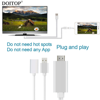 DOITOP USB 8pin to HDMI Cable HDTV Audio Video Cable AV Cable Adapter Plug and Play 1080P HDMI Cable for iPhone 8/7/6S Plus ipad