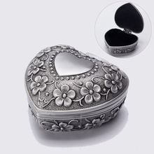 Alloy Retro Jewelry Box Love Heart Engravable Treasure Chest Perfect Gift Classical European Floral Engraving Jewelry Box