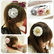 2017 new arrivals Wholesale fashion children's hairbands accessory hand making Pu star with lace hair clips for baby girls(China)
