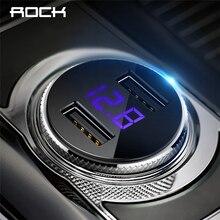ROCK 5V 3.4A Dual USB Car Charger Digital Display iPhone X 8 7 Xiaomi Samsung Fast Charging Voltage Monitoring Universal