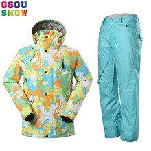 GSOU SNOW Brand Ski Suit Men Ski Jacket Pants Snowboard Sets Waterproof Mountain Skiing Suit Winter Male Outdoor Sport Clothing(China)