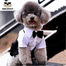 2016 Western Style Mens Suit for Pet Dog Clothes Festival T Shirt Wedding Dog Suit & Bow Tie Puppy Dog Apparel Jumsuit S-XXL