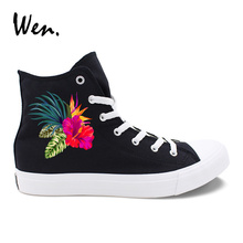 Wen Original Canvas Shoes Floral Design Colorful Hibiscus Flowers High Top Black White Women Sneakers Skateboard Shoes Girl(China)