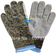 Glass Handing Safety Gloves Aramid Fiber Leather Sewed Anti Cut Resistant Work Glove