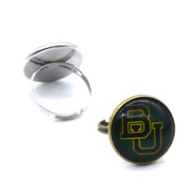 NCAA baylor bears Domed Glass Cabochon Cover and Brass Pad ring jewelry for DIY Portrait Ring Making
