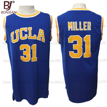 Cheap BONJEAN Mens Reggie Miller Jersey #31 UCLA Stitched Blue Throwback College Basketball Jerseys(China)