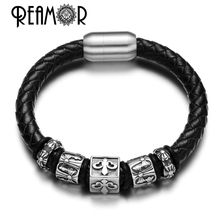 REAMOR Punk Style 316l Stainless Steel Square Beads Rubber and Braided Leather Bracelets with Magnetic Buckle Luxury Jewelry(China)