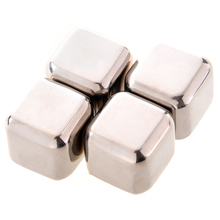 ALIM  4Pcs Whiskey Wine Beer Stones 440C Stainless Steel Cooler Stone Whiskey Rock Ice Cube Edible Alcohol Physical Cooled