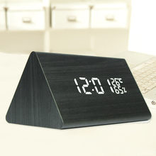 Trangle Digital LED Alarm Clock Desk USB Solid Wood Electronic Sounds Control Wooden Table Clock With Temperature(China)