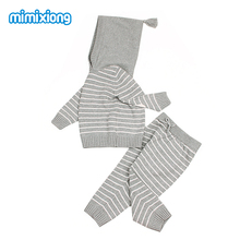 Autumn Newborn Baby Outfits Winter Outwear Infant Boys Knit Tracksuits Cotton Crochet Toddler Girls Sport Suit Hoodies Pants Set(China)