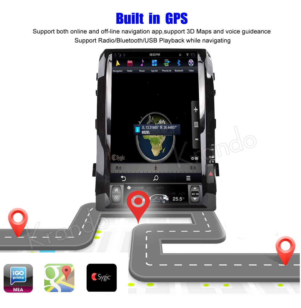 Krando android car radio stereo navigation gps for toyota land cruiser 200 2008-2015 car dvd player multimedia system (8)