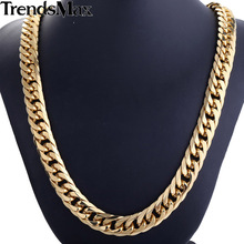Trendsmax Gold Color Double Curb Link Rombo Fashion Mens Chain Boys 316L Stainless Steel Necklace HN57 HN58