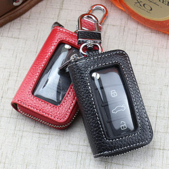 Leather Fashion Car Key Case Cowhide Key Cover Fob Key Chain For Car Zipper Wallet Key Wallet Men & Women Car Key Bag