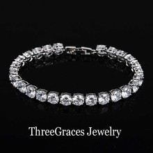 2017 Fashion Ladies Jewelry White Gold Color High Quality Clear 0.5 Carat Cubic Zirconia Tennis Bracelet For Women BR036