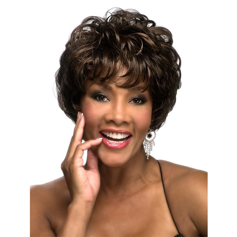 Free Shipping New Stylish Brown Short Curly Ladys Fashion Sexy Party Cosplay Synthetic Hair Wigs<br><br>Aliexpress