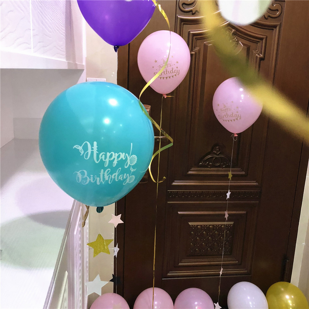 Ynaayu 10pcs Hot Sale Latex Balloons 10 Inch Happy Birthday Mermaid Balloon Party Supplies Baby Shower Decor