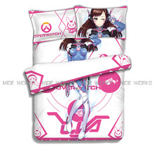 D.VA Over Watch OW Game Bedding Set Cool 3D Print Comforters Soft Duvet Cover Set 4pcs