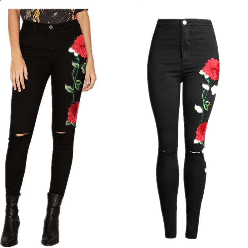 American Apparel BF Women Jeans with high waist Floral 3D embroidery High Waist Ladies Straight Denim Pants Jeans BottomsОдежда и ак�е��уары<br><br><br>Aliexpress