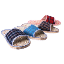2017 Unisex Linen Flax Plaid Home Flat Slipper Indoor Cozy Open Toe Scuffs Slip-on Flat Slipper Men Women Shoes Fashion New Shoe(China)